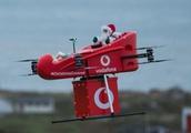 Santa flies in, powered by Vodafone