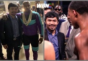 Floyd Mayweather seeks out Manny Pacquiao at Errol Spence fight