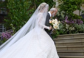 Lady Gabriella Windsor elegant in lace gown as she arrives for royal wedding