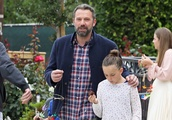 Ben Affleck takes his three children to church in Brentwood on Father's Day in LA