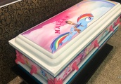 Maleah Davis' casket is colored with rainbows,