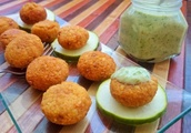 Red Lentil Fritters With Cucumber Yogurt Sauce [Vegan, Gluten-Free]
