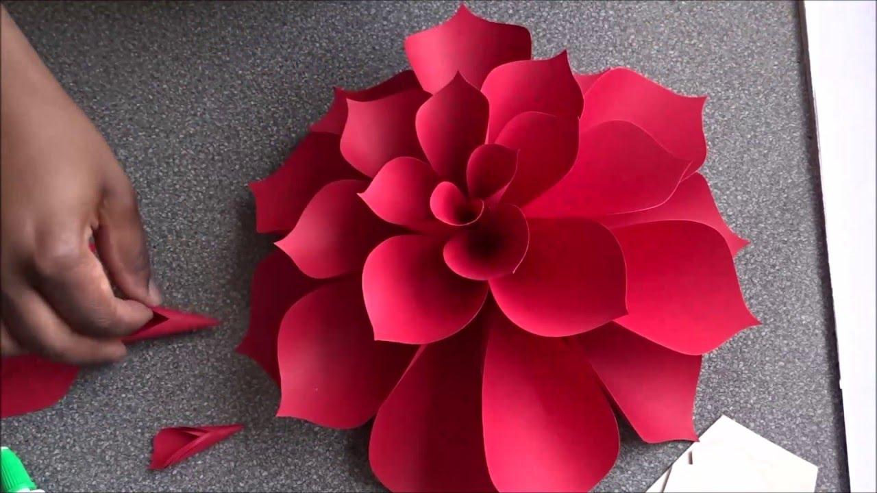 Большие цветы из бумаги а4