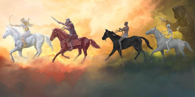 os quatro cavaleiros do apocalipse descritos na biblia.