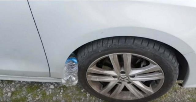 Polícia alerta: se encontrar uma garrafa de plástico no pneu de seu carro, você pode estar em perigo