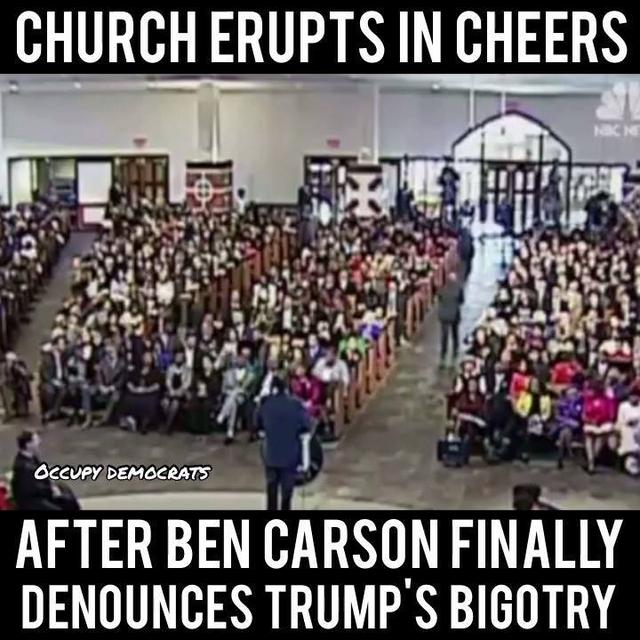 Church erupts in cheers after Ben Carson FINALLY denounces Trump's bigotry