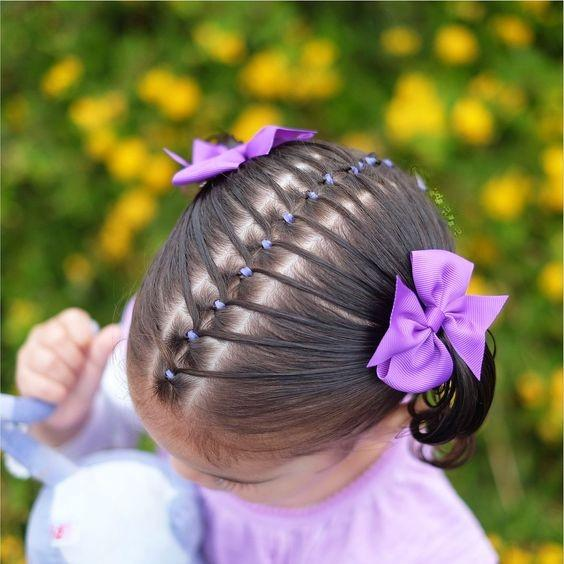 Hairstyles For Children With Elastic Bands Of Different Color