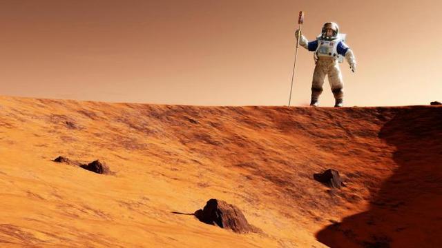 Representação de astronauta no planeta vermelho
