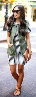 moda como se usa vestido com listras