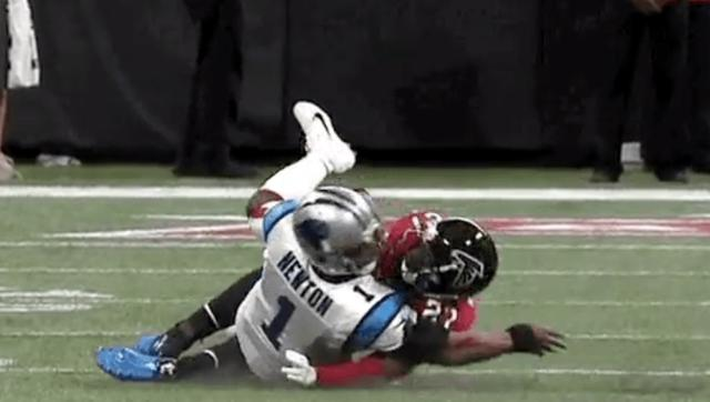 VIDEO: Falcons Safety Ejected for Awful Dirty Hit on Cam Newton