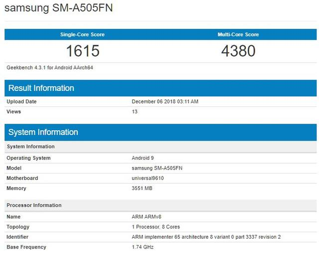 Samsung Galaxy A50 Features Exynos 9610 SoC, Benchmark Reveals