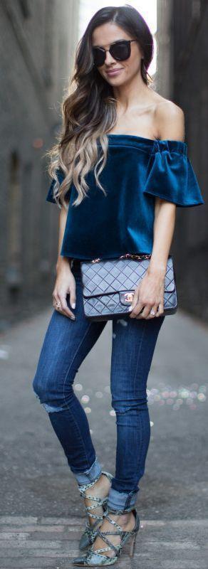blusa azul como usar