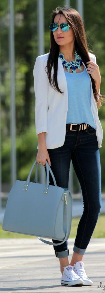 ideias com blusa azul