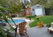 プール際を歩く猫を背後から猫が猫パンチで突き落とすGIF画像