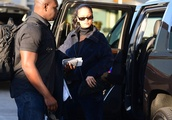 Exclusive: Rihanna Jet Sets In Style As She Flies Back Home In A Navy Fleece Tracksuit And Heels