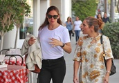 Exclusive: Jennifer Garner Wears Knee High Boots With Black Jeans And White Shirt As She Is Seen Tal